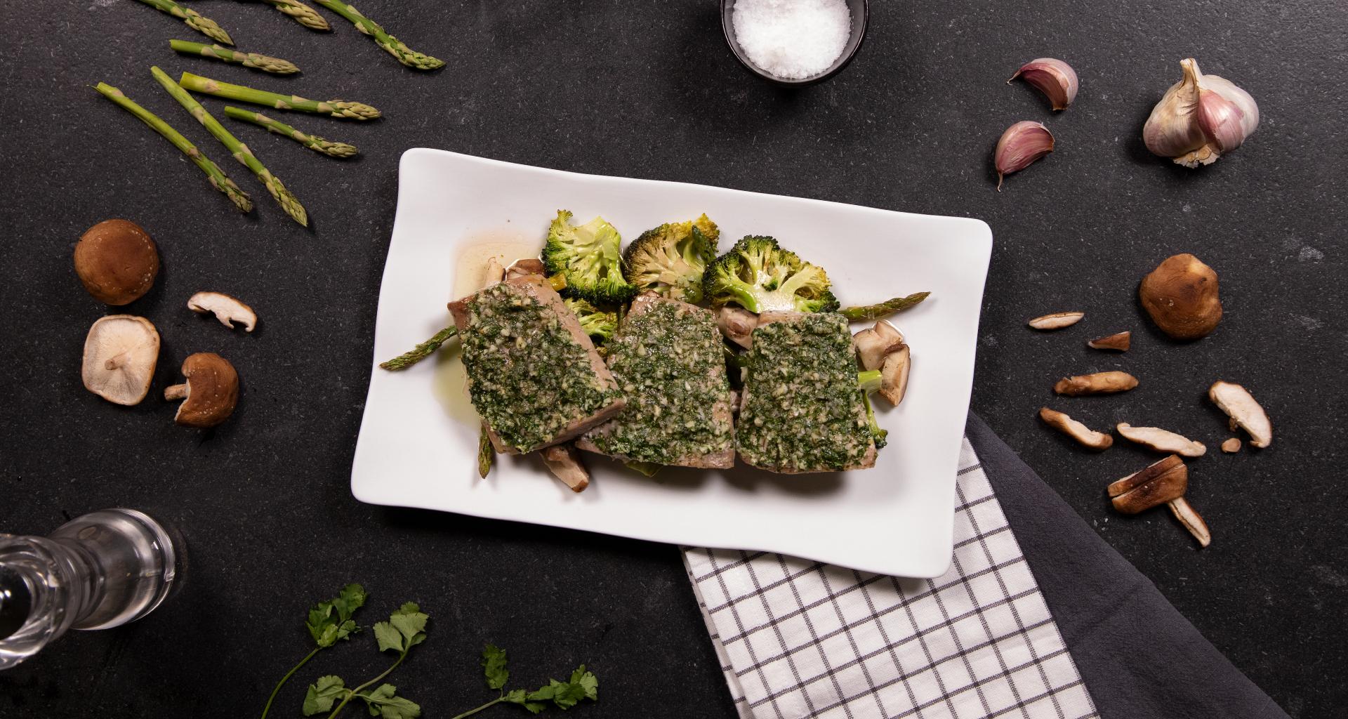 Receta ventresca de bonito al horno con verduras